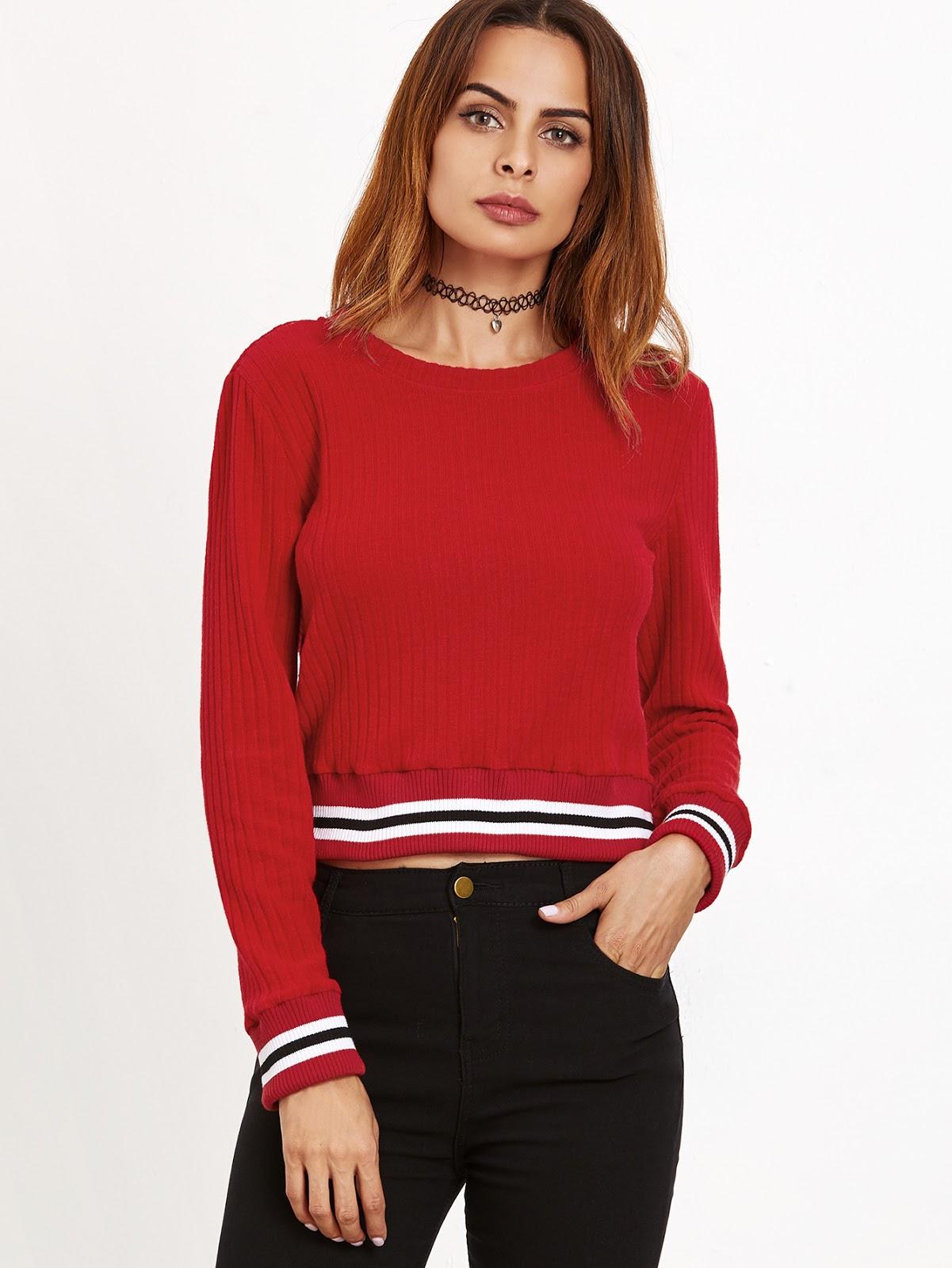 Red Striped Trim Crop Sweater