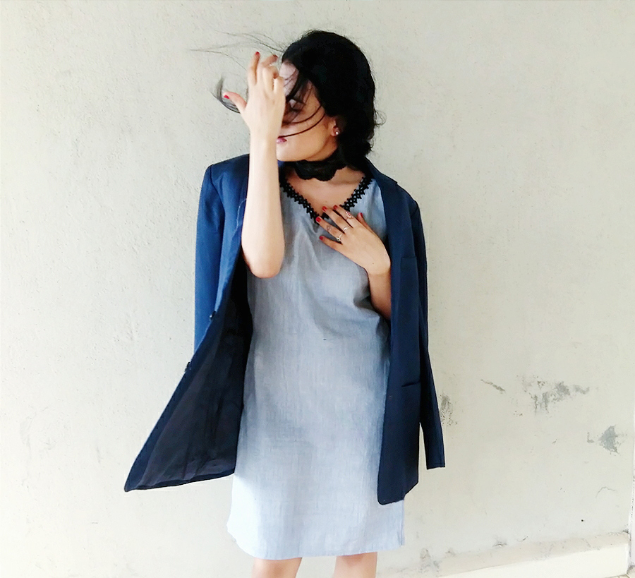 grey dress,neck lace ,style ,fashion