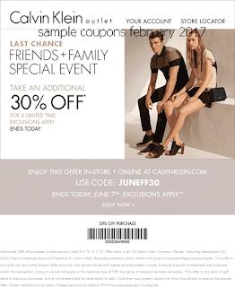 Calvin Klein coupons february 2017