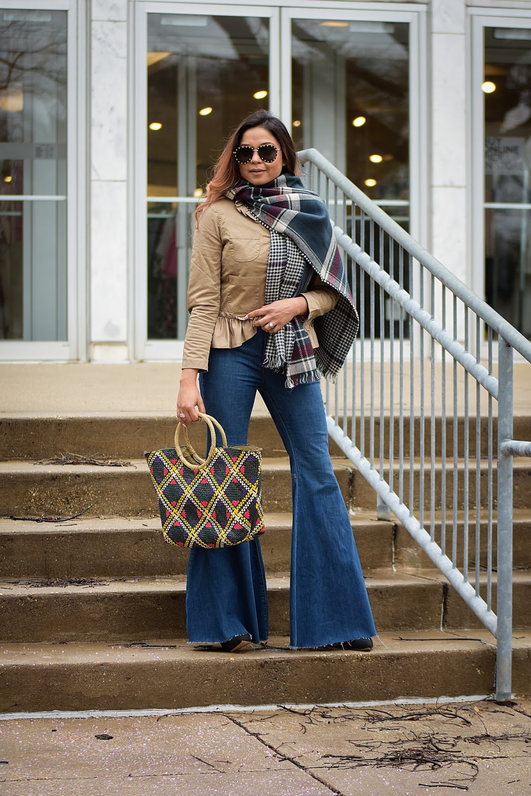 how to wear a plaid scarf, bell bottom jeans, spring style, street style, fashion blogger, style, frill j crew blazer, woven beach bag, myriad musings