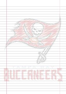 Folha Papel Pautado Tampa Bay Buccaneers rabiscado PDF para imprimir na folha A4