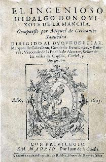 """Portada de la primera edición de la novela """"El ingenioso hidalgo don Quijote de la Mancha"""", de Miguel de Cervantes"""