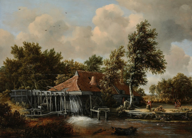 Meindert Hobbema - Een watermolen (1668)