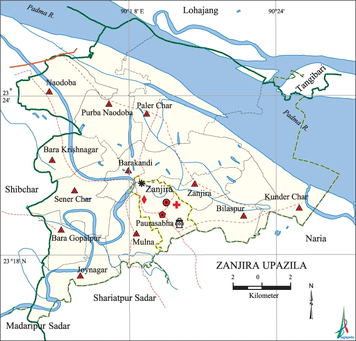 Zajira Upazila Map Shariatpur District Bangladesh