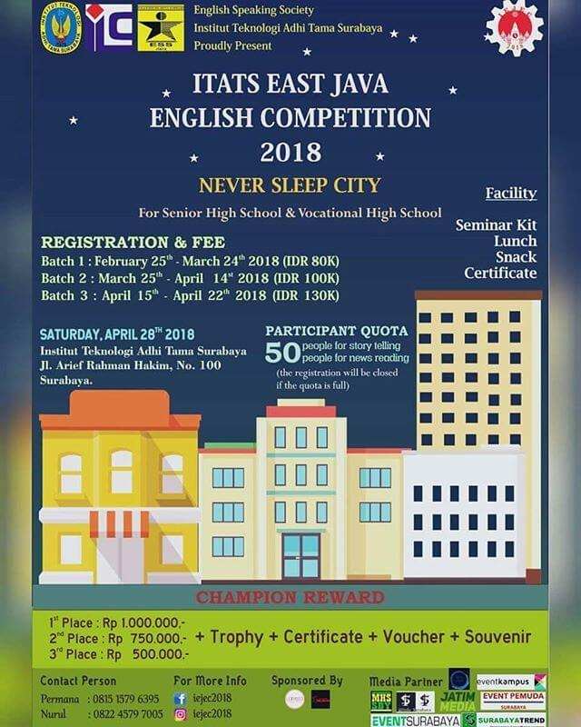 Lomba Itats East Java English Competition 2018 Intitut Teknologi Adhi Tama Surabaya