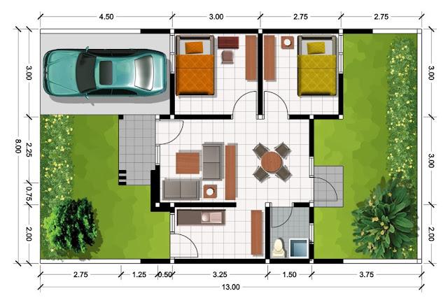 Contoh desain denah rumah minimalis type 36 lantai 1