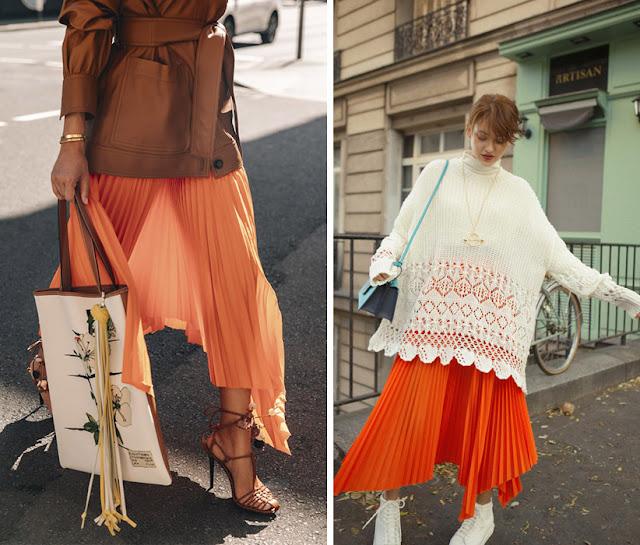 Оранжевая плиссированная асимметричная юбка