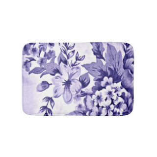 Blue floral bath mat