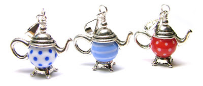 Lampwork glass teapot charms and pendants