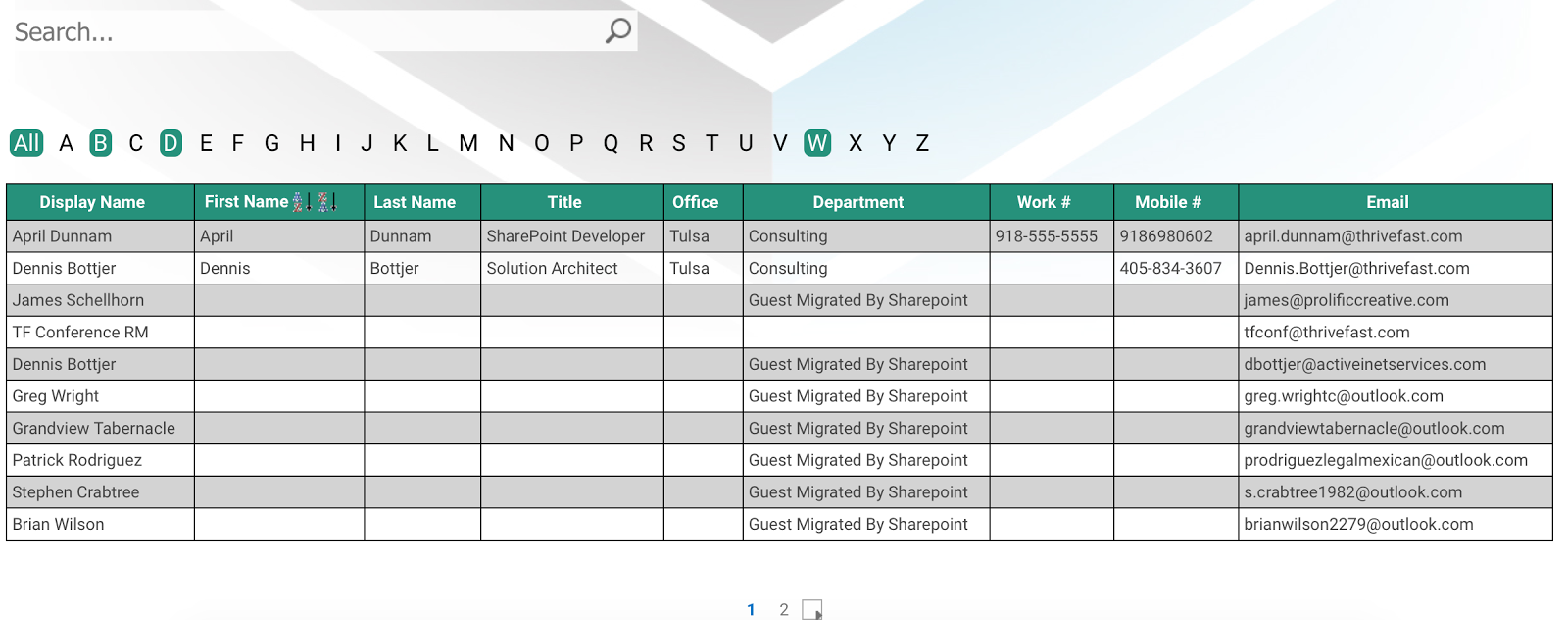 April Dunnam SharePoint Employee Directory Table Template with Popup – Employee List Template