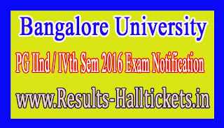 Bangalore University PG IInd / IVth Sem 2016 Exam Notification
