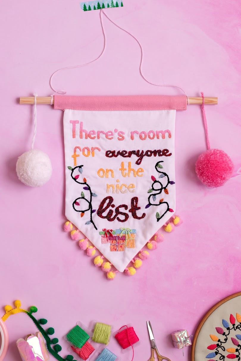 hand embroidery christmas wall hanging