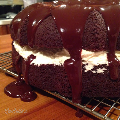 Who wants boring cake? Step it up with Devil Dog Cake topped with Ganache