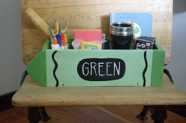 fill a pallet wood box with goodies for the teacher