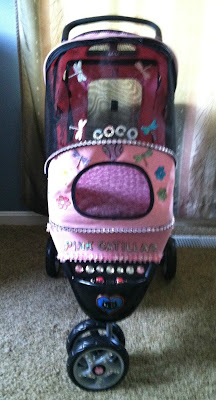 Coco, the Couture Cat's Pink Catillac stroller