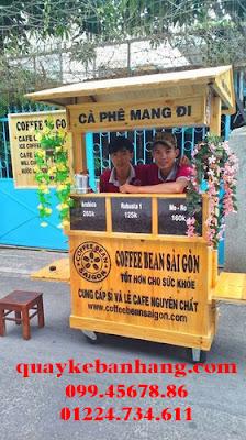 Xe bán cafe di động bằng gỗ