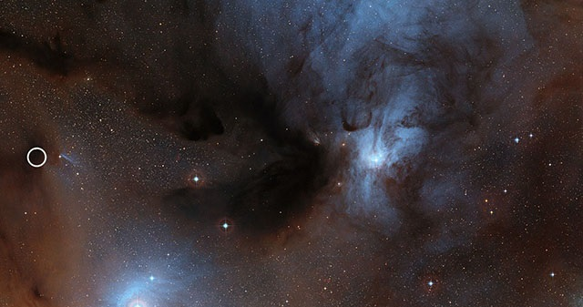 Image of the Rho Ophiuchi star formation region with IRAS16293-2422 B circled. Credit: ESO/Digitized Sky Survey 2. Acknowledgement: Davide De Martin