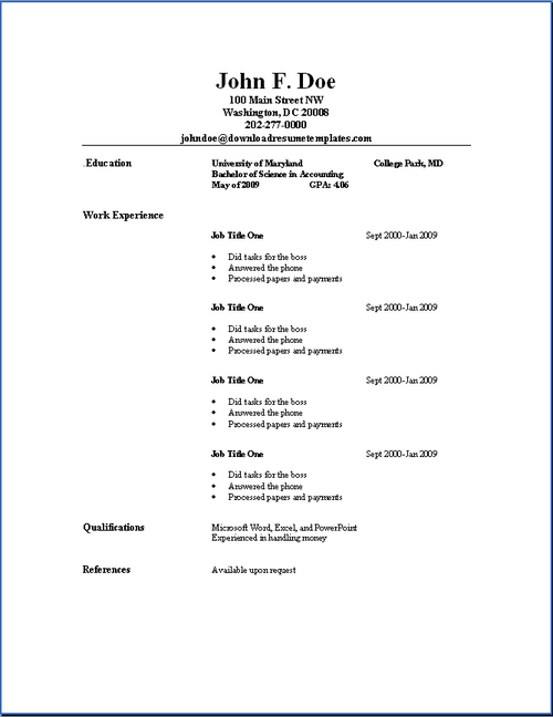 sample of simple resume
