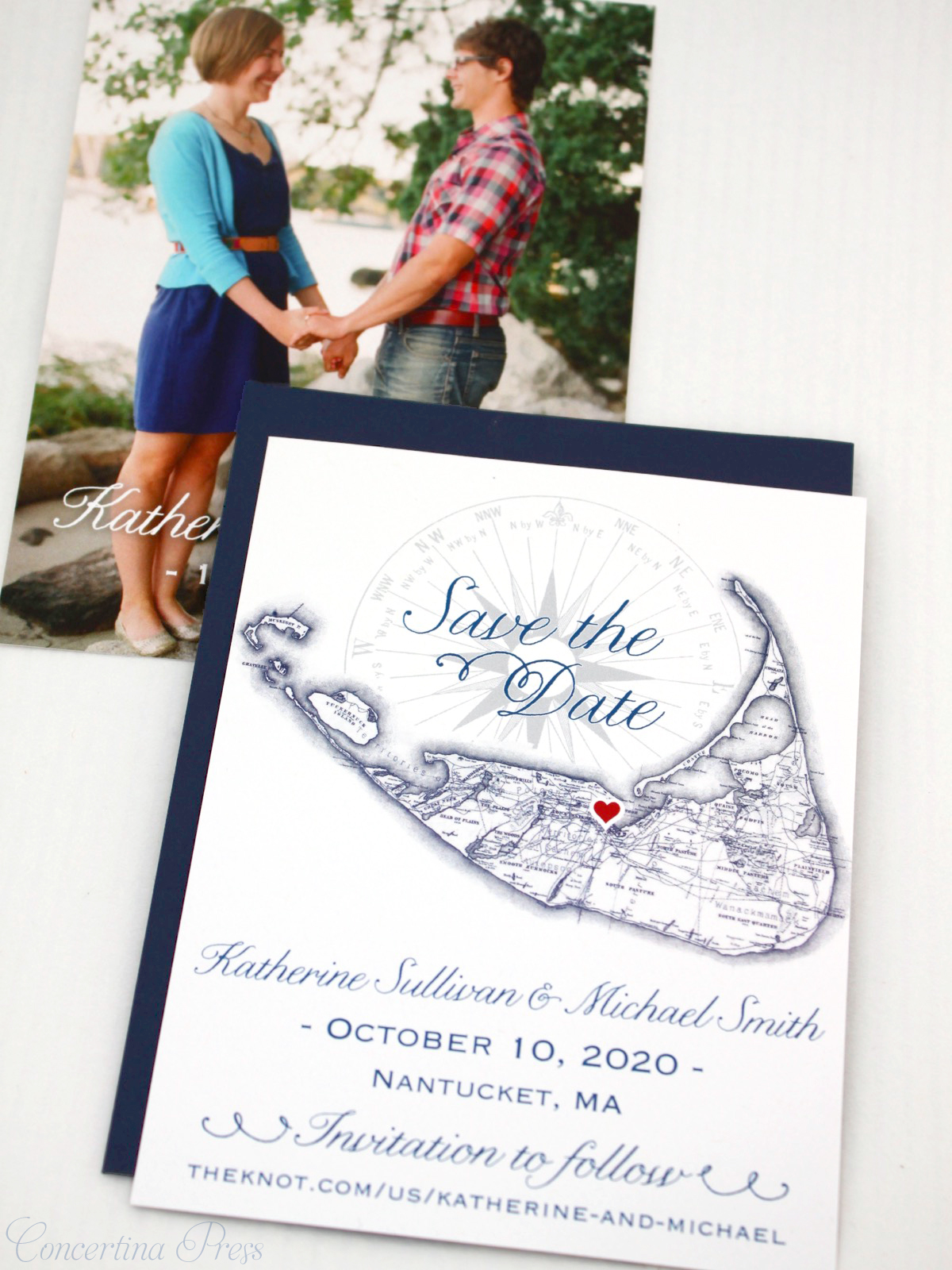 Nantucket Save the Dates with Photo from Concertina Press