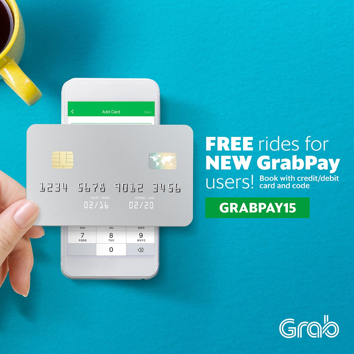 Grab Promo Code RM15 OFF 5 Rides for New GrabPay (Debit