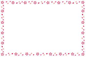 春のフレーム「桜吹雪」横