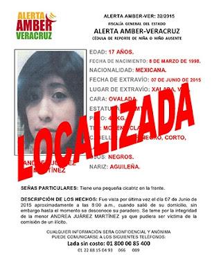 Desactivan Alerta Amber para Andrea Juarez Martinez en Xalapa