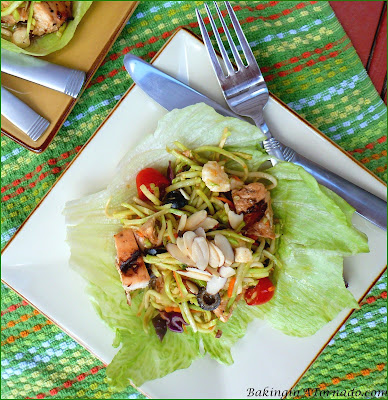 Balsamic Chicken Salad, grilled marinated chicken mixed up with slaw, vegetables and sauce. Make a day ahead, it's ready when you are, perfect for a summer lunch or dinner | Recipe developed by www.BakingInATornado.com | #recipe #chicken
