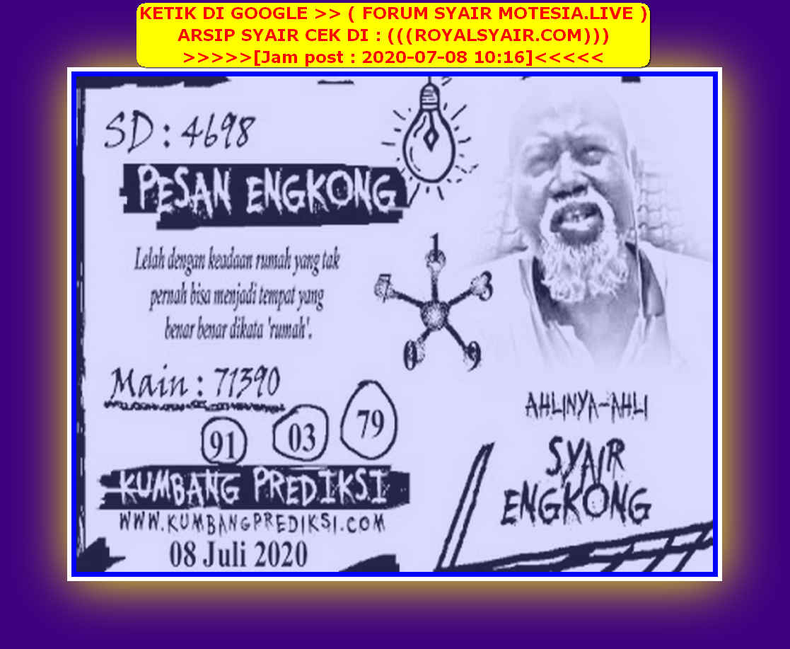 Kode syair Sydney Rabu 8 Juli 2020 62