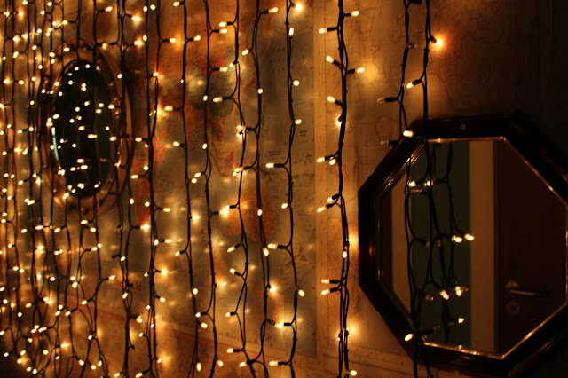 baltic social wall of fairy lights