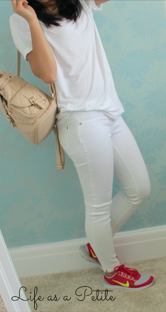 White Jeans, White Missguided Tshirt and Pink Nike Trainers