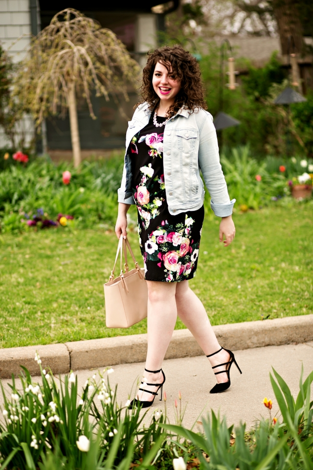 Floral dress with denim jacket for a perfectly spring outfit!