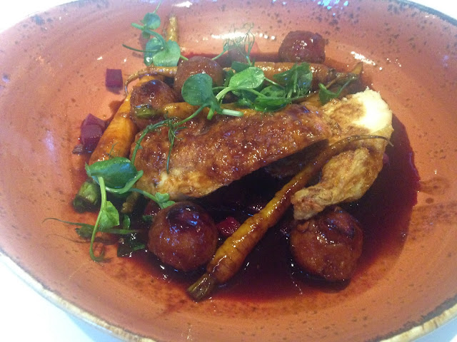 Hotch-potch of English Corn-fed Chicken Suprême with Beetroot, 'Pot Stickies', Heritage Carrots, Fennel & Lemon Thyme Juices.