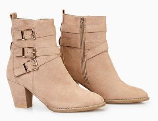 faux suede booties with triple buckle