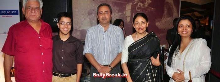 Om Puri, Ishaan Puri, Deepti Naval, Nandita Puri, 'The Hundred-Foot Journey' Movie Special Screening