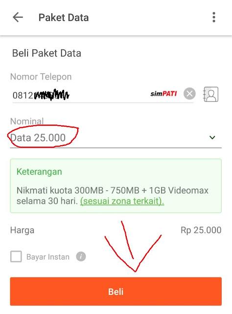 Halaman Beli Paket Data Tokopedia