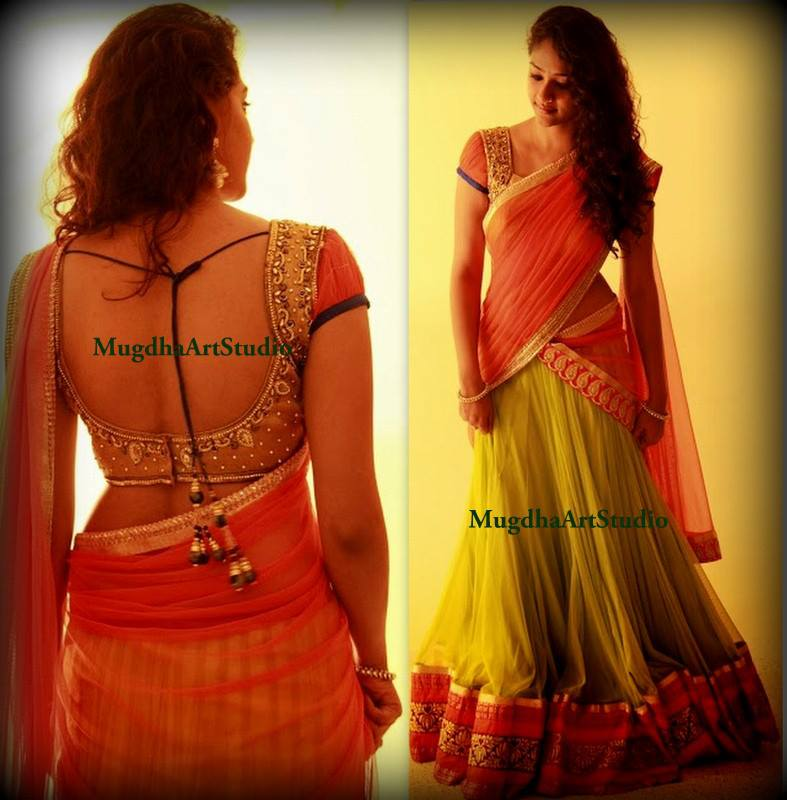 Stunning half saree by mugdha art studio south india fashion for Buy art online india