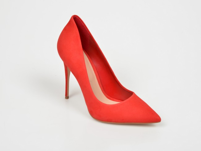 Pantofi femei rosii cu toc inalt din piele naturala de nabuc