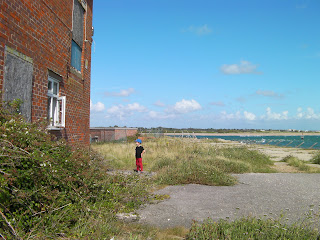 Hayling Island from Fort Cumberland. Derelict buildings