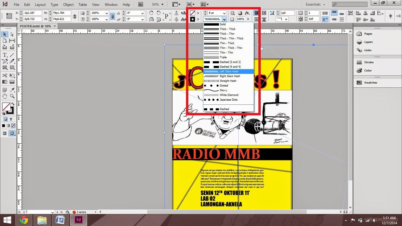 elemen garis menggunakan line tool_tutorial cara membuat poster di adobe indesign