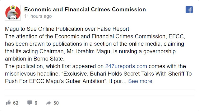 EFCC Chair, Magu Addresses Reports Of Governorship Aspiration, Threatens Lawsuit Over False Report
