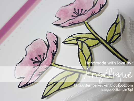 http://stempelkeuken.blogspot.com OnStage April 2016 Display Stamper de Stempelkeuken Birthday blooms, Sweet Sugarplum, Blushing Bride, Archival Basic Gray, Archival Basic Black, Wink of Stella Piercing Mat, Piercing Tool, Updated Essentials Paper piecing,