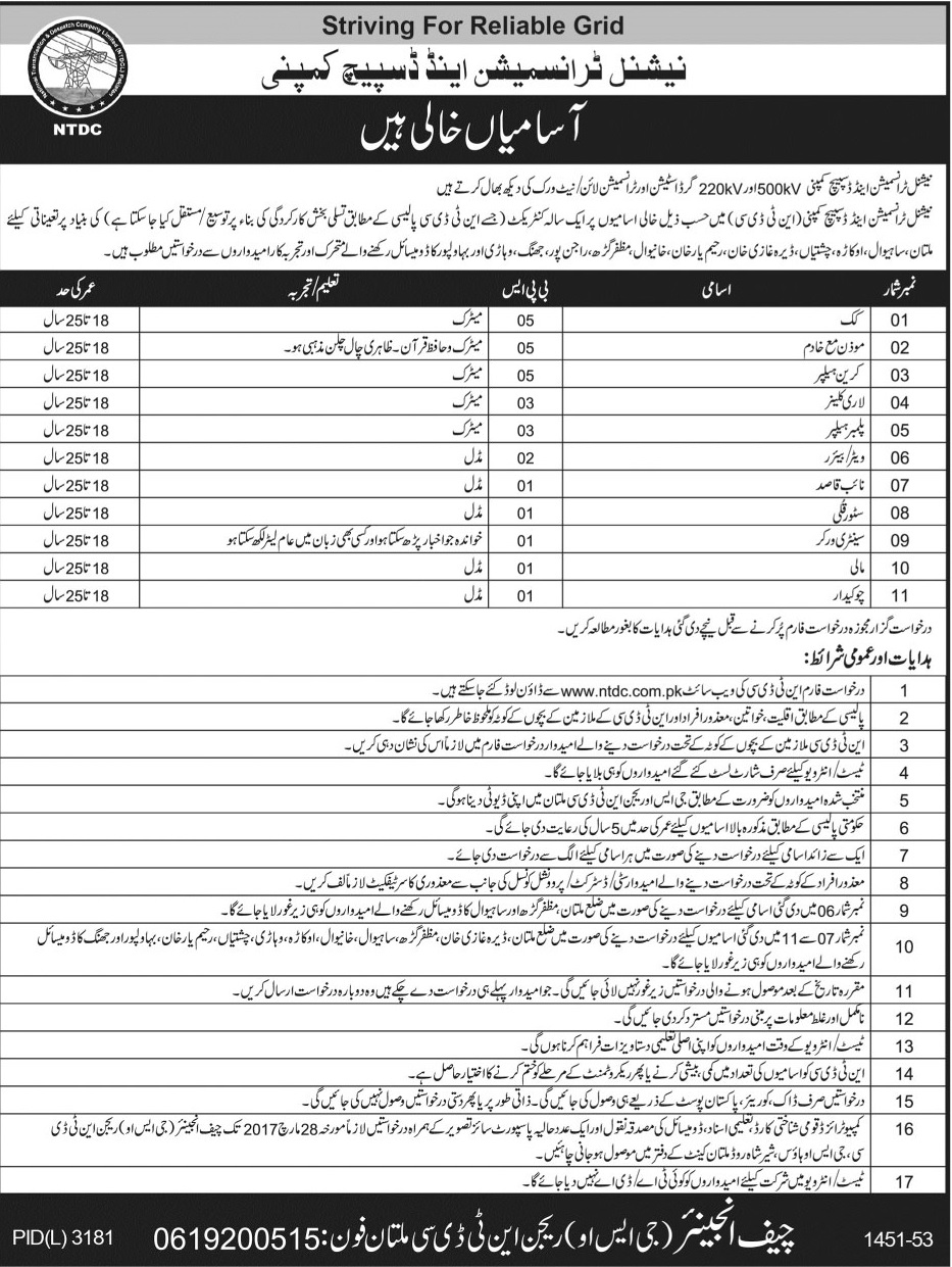 National Transmission & Despatch Company Multan Jobs