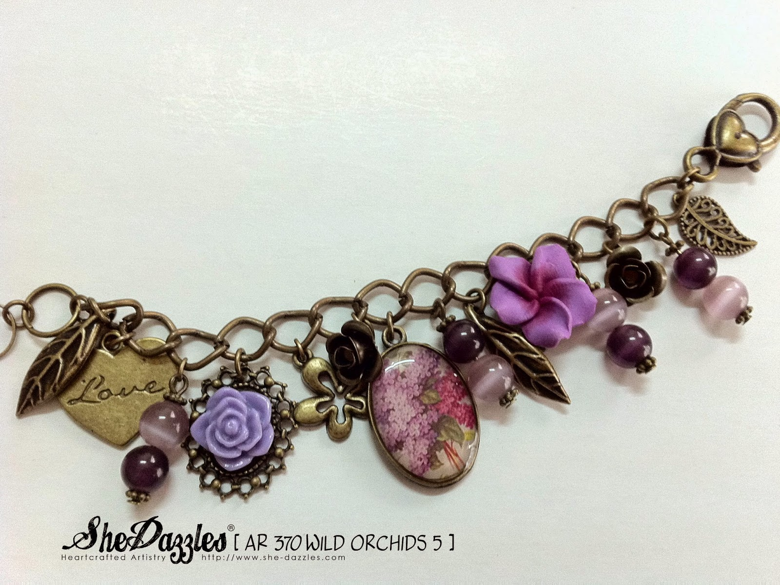 purple-flower-orchid-charm-bracelet-malaysia