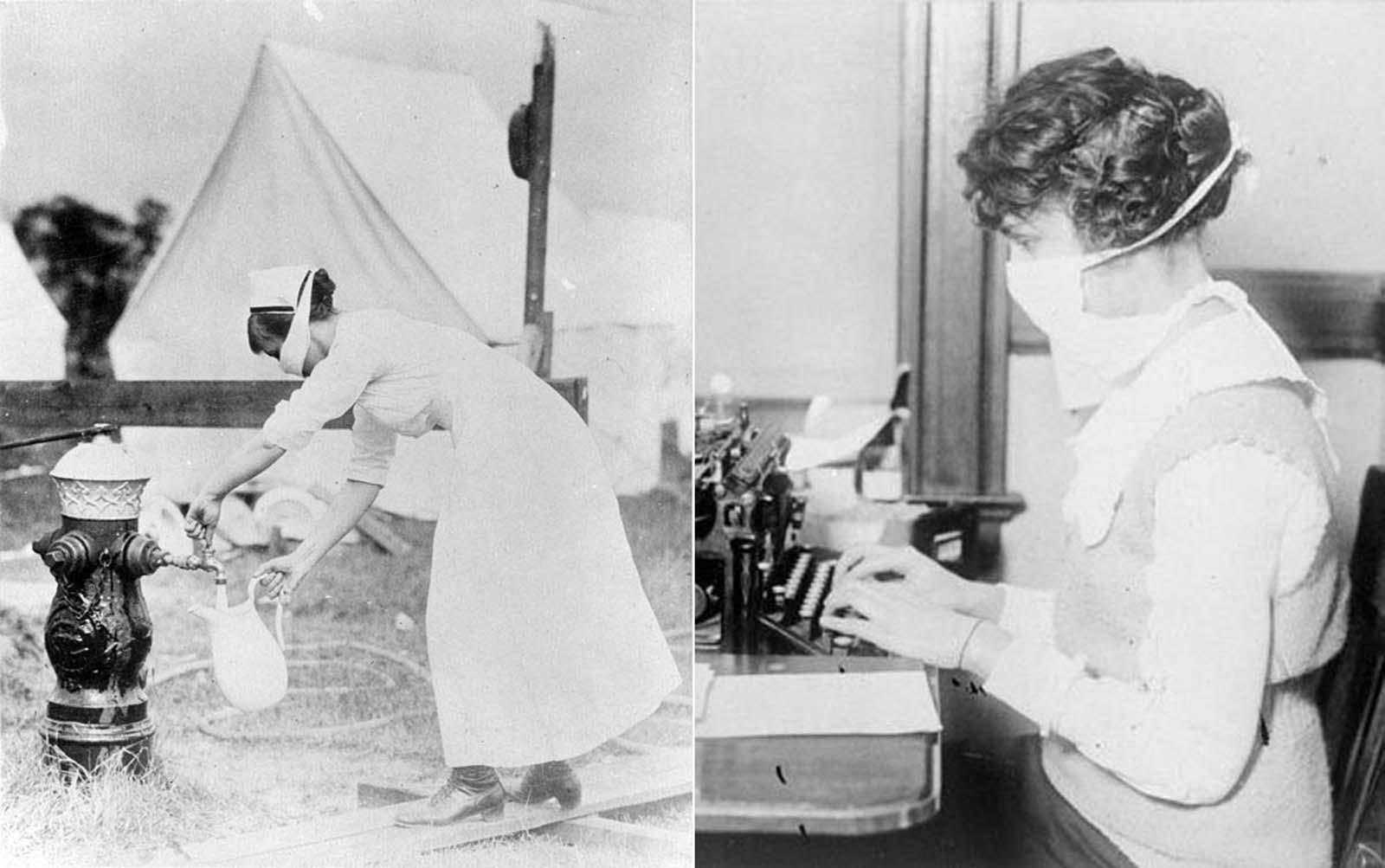 Esquerda: Um datilógrafo trabalha usando uma máscara, na cidade de Nova York.  Direita: Uma enfermeira se protege enquanto busca água.