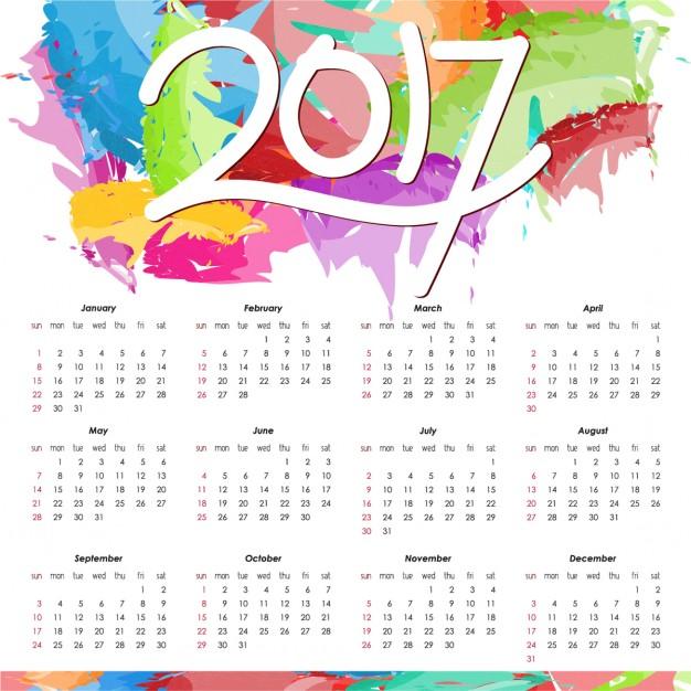 Lịch vector năm mới 2017 tuyệt đẹp, download miễn phí