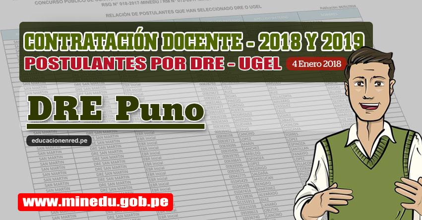 DRE Puno: Lista de Postulantes por UGEL DRE - Contrato Docente 2018 (.PDF) www.drepuno.gob.pe
