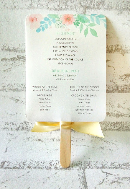 Wedding Programme Fan with Ribbon Bow