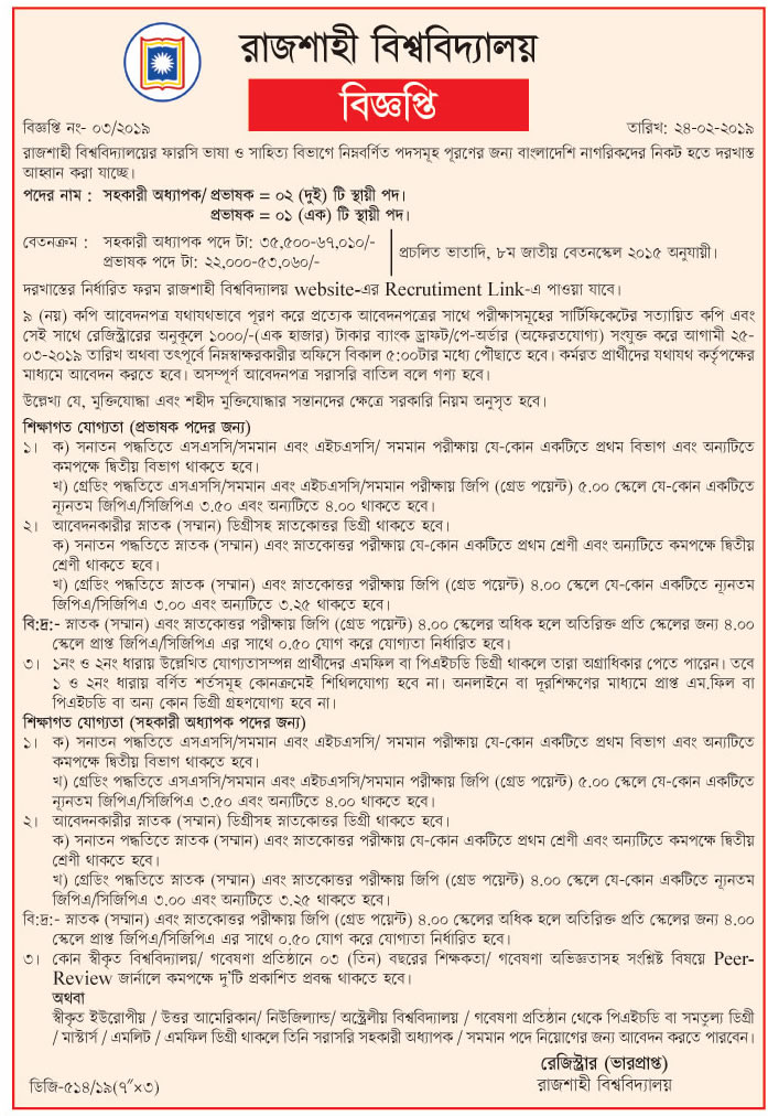 University of Rajshahi Circular 2019