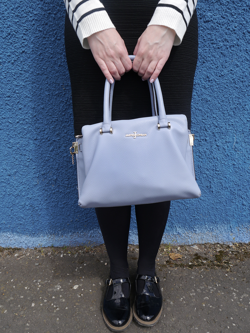 Scottish fashion blogger, Wardrobe Conversations, Jasper Conran bag from Debenhams, blue background, monochrome outfit inspiration, blue and monochrome streetstyle, Debenhams designers as worn by blogger