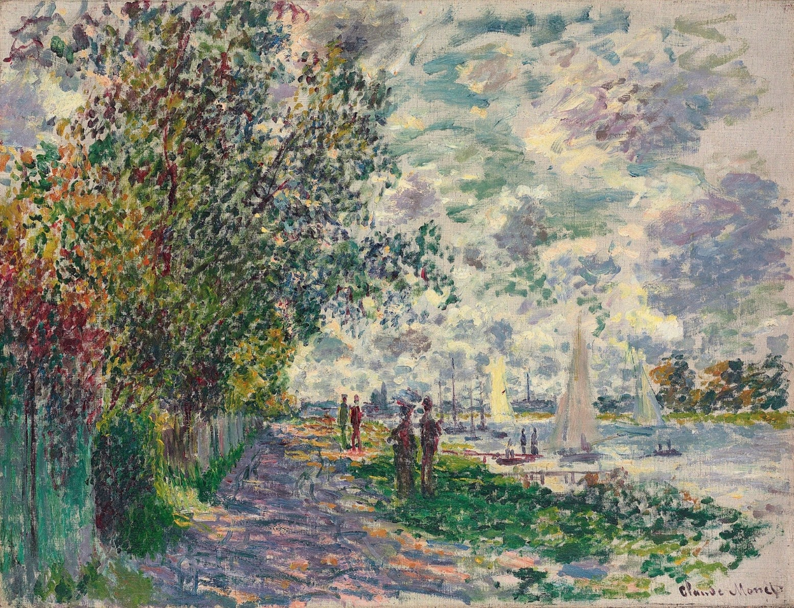 High resolution Art photos museum quality images: The Riverbank at Petit  Gennevilliers 1875 Claude Monet